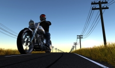Motorcycle rider on open road