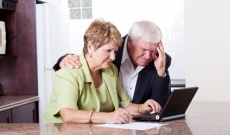 Stressed retired couple