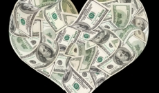 money in the shape of a heart