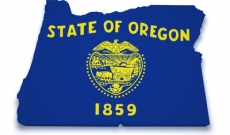 Oregon state flag on map