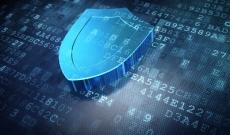 blue shield hologram on computer digits