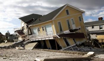 Hurricane Sandy destroyed house