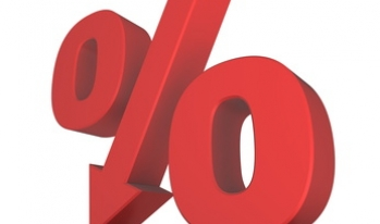 Percentage sign, with center line a down arrow