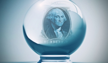 Crystal ball with a dollar displayed