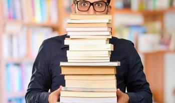 Student holding books