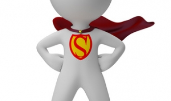Superhero standing with hands on hips