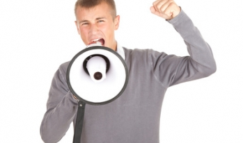 young student yelling through loudspeaker
